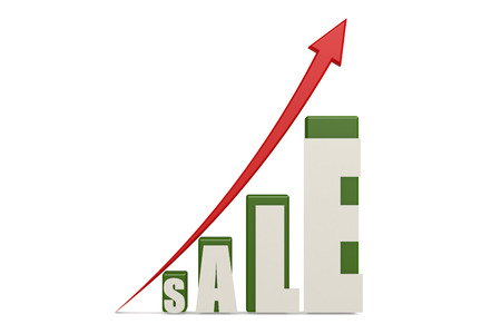Sale word with up red arrow, 3D rendering