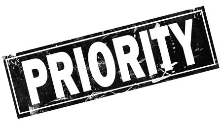 Priority word with black frame, 3D rendering