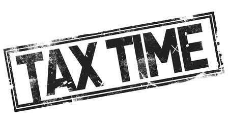 Tax time word with black frame, 3D rendering