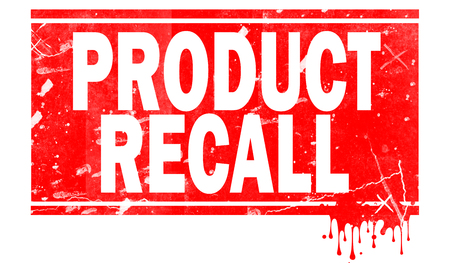 Product recall word in red frame, 3D rendering