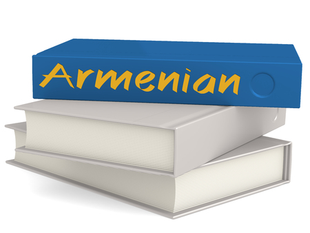 Hard cover books with Armenian word, 3D rendering Stock Photo - 110699922