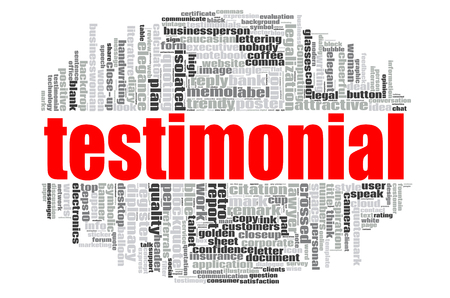 Testimonial word cloud concept on white background, 3d rendering. Stock Photo