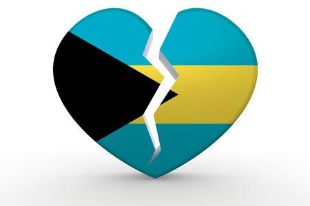Broken white heart shape with Bahamas flag, 3D rendering