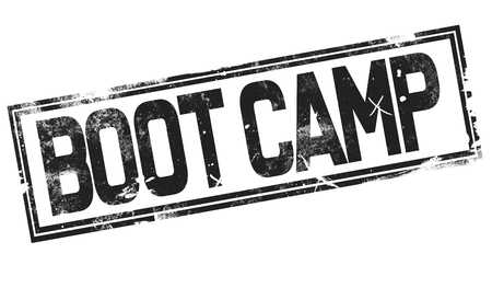 Boot camp word with black frame, 3D rendering
