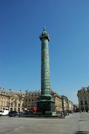 PARIS, FRANCE-JUL 23, 2018: Vendome column with statue of Napoleon Bonaparte with blue sky background in Paris France. Editorial