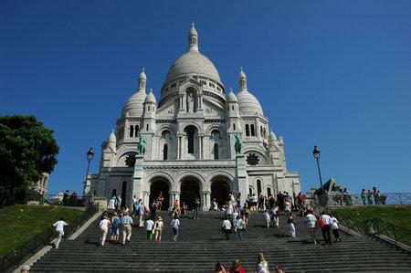 PARIS, FRANCE-JUL 23, 2018: Basilica of the Sacre Couer on Montmartre, Paris, France. Catholic church cathedral is popular Europe tourist destination.