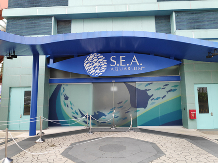 SINGAPORE - 09 SEP 2018: Entrance of S.E.A. Aquarium in Singapore. S.E.A. Aquarium is among the largest aquariums in the world