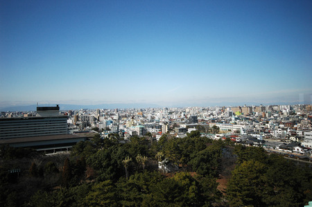 Nagoya Japan - city in the region of Chubu in Aichi prefecture. Aerial view with Castle Park Editorial