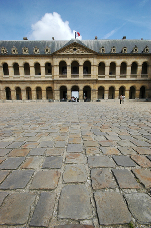 PARIS, FRANCE-JUL 23, 2018: View of the inner courtyard of the Les Invalides Palace in a sunny day at Paris.
