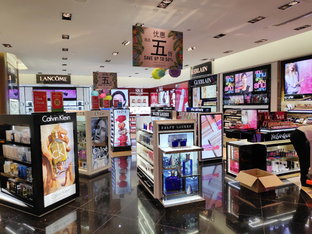SINGAPORE - 09 SEP 2018: Cosmetics store at Sentosa island, Singapore. Cosmetics are substances or products used to enhance the appearance or fragrance of the body.