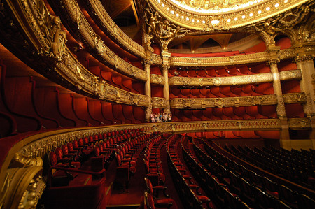 PARIS, FRANCE-23 JUL, 2018: Interior view of the Opera National de Paris Garnier, France. It was built from 1861 to 1875 for the Paris Opera house Editorial