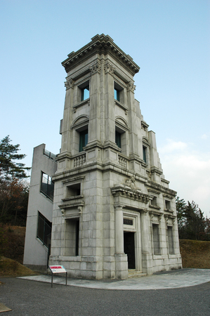 INUYAMA, JAPAN-23 APR, 2018: Historic head of office of Kawasaki bank built in 1927 located in Meiji Mura, Japan