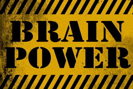 Brain Power sign yellow with stripes, 3D rendering