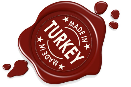 Label seal of made in Turkey isolated on white background, 3D rendering