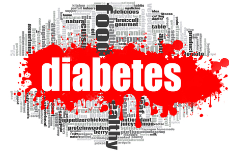 Diabetes word cloud concept on white background, 3d rendering.