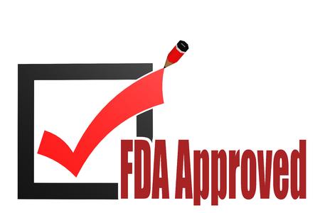 Parola approvata dalla FDA con segno di spunta e matita, rendering 3D Archivio Fotografico