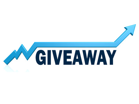 Giveaway word with blue grow arrow, 3D rendering
