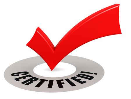 Coche certifiée et rouge, rendu 3D Banque d'images