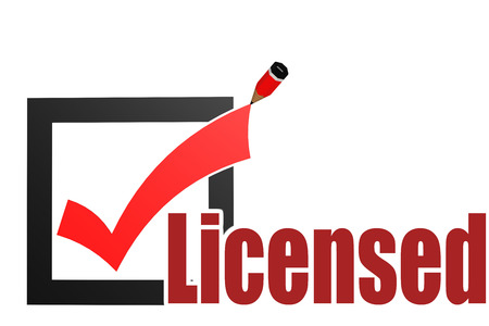 Licensed word with check mark and pencil, 3D rendering