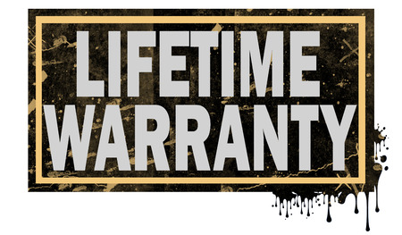 Lifetime warranty word with black frame, 3D rendering