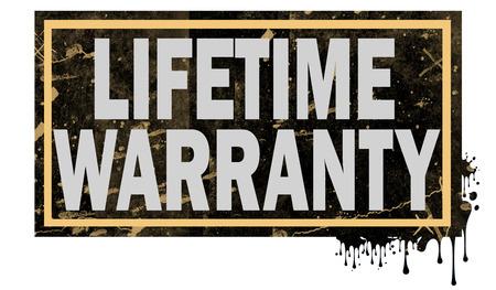 Lifetime warranty word with black frame, 3D rendering