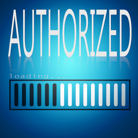 Authorized word with blue loading bar, 3D rendering