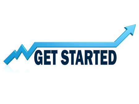 Get started word with blue grow arrow, 3D rendering