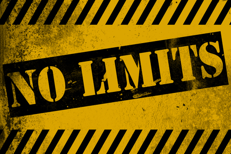 No limits sign yellow with stripes, 3D rendering