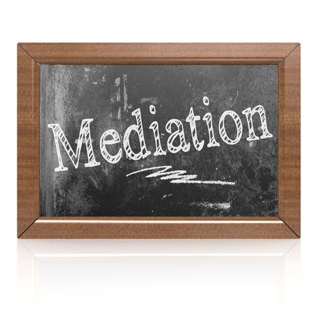 Mediation text written on blackboard, 3D rendering