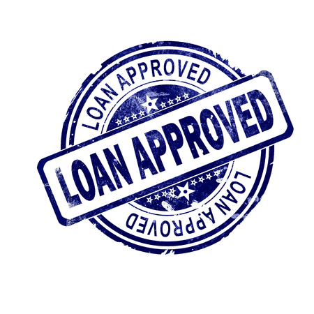 Loan approved word with blue round stamp, 3D rendering Stok Fotoğraf
