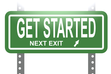 Get started word with green sign board isolated , 3D rendering