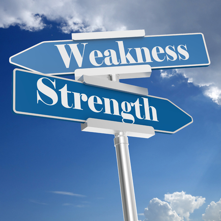 Strength and weakness signs, isolated on white. 3D rendering