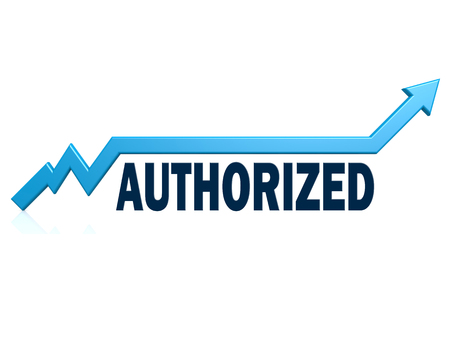 Authorized word with blue grow arrow, 3D rendering
