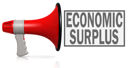 Economic surplus word with red megaphone isolated on white, 3D rendering Reklamní fotografie