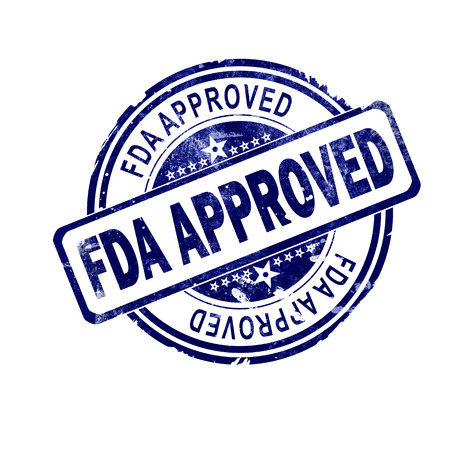 Fda approved word with blue round stamp, 3D rendering