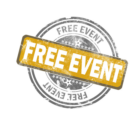 Free event yellow vintage stamp, 3D rendering