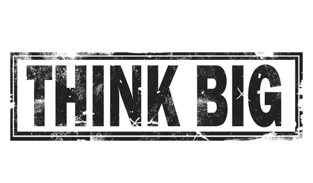 Think big word with black frame, 3D rendering