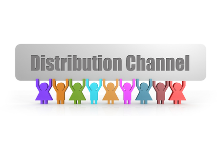 Distribution Channel word on a banner hold by group of puppets, 3D rendering