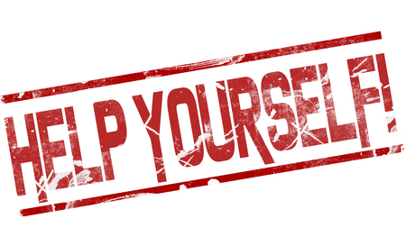 Help yourself word between red line, 3d rendering Stock Photo