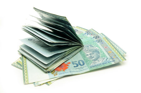 Stack of Malaysia Ringgit on the white background