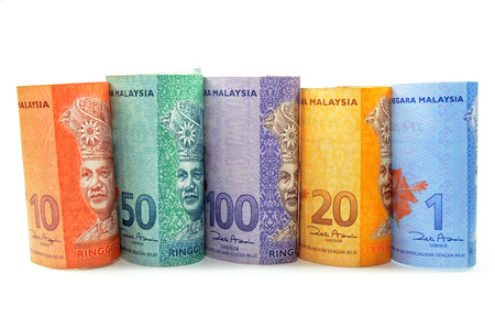 Malaysia currency one,five,ten,fifty and hundred ringgit on the white background