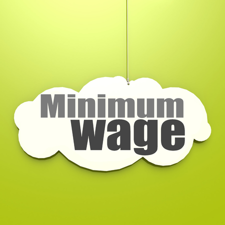 Minimum wage word on white cloud with green background, 3D rendering