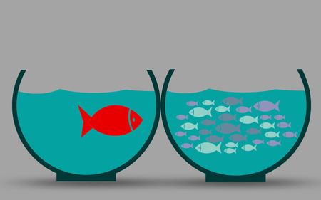 Dare to be different, Fish inside the aquarium, 3D rendering
