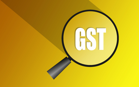 Glass magnifier with the Goods and Service Tax acronym GST, 3D rendering