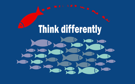 Think differently success concept with small fishes group, 3D rendering