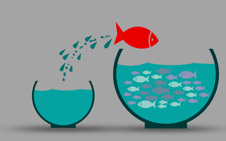 Fish in fishbowl jumps to his friends, 3D rendering