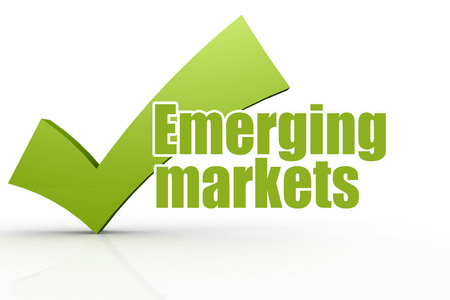 Emerging markets word with green checkmark, 3D rendering