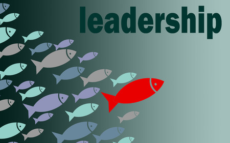 Leadership fish graphic on blue background, 3D rendering