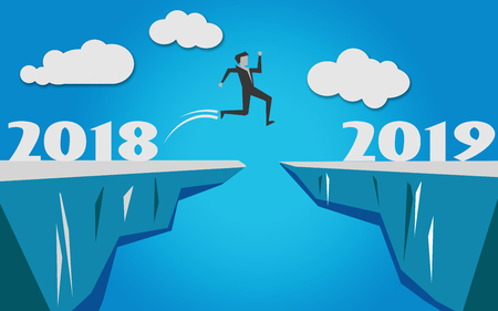 Man jump over the cliff into year 2019, 3D rendering