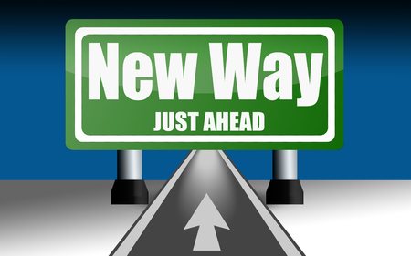 Road sign over the road with New Way word, 3D rendering Stock Photo
